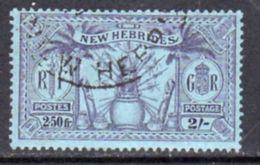 New Hebrides 1925 Dual Currency 2/-/2f.50 Value, Wmk. Mult. Script CA, Used, SG 50 - English Legend