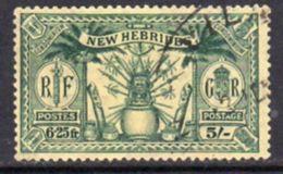 New Hebrides 1925 Dual Currency 5/-/6f.25 Value, Wmk. Mult. Script CA, Used, SG 51 - English Legend