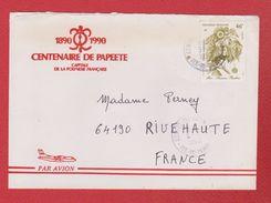 Polynésie Française / Enveloppe /Ile De Tahiti / Pour Rivehaute   / 5 Avril 1990 - Lettres & Documents
