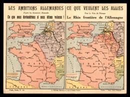 GUERRE 14/18 - CARTE DE FRANCHISE MILITAIRE DOUBLE - LIGUE DES PATRIOTES AVEC CARTE DU FRONT - Marcophilie (Lettres)