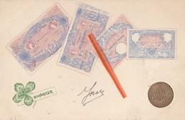Représentation 4 Billets De 500 - 1000 - 50 - 100 Francs Français + Pièce De 10 Francs Ainsi Que Trèfle à 4 Feuilles - Monnaies (représentations)