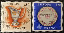 1877 1878 France 1976 Oblitéré  Europa Faience De Strasbourg Porcelaine De Sèvres - Gebraucht