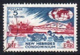 New Hebrides 1963-72 Definitives 5c Lake & Greenish Blue Variety, Used, SG 98a - English Legend