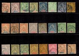 Madagascar 24 Timbres Type Groupe 1892/1907. Bonnes Valeurs. B/TB. A Saisir! - Madagascar (1889-1960)