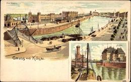 Lithographie Köln Am Rhein, Blick Auf Den Hafen, Malakoffturm, Brücke - Allemagne