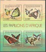 BURUNDI 2012 - Papillons D'Afrique - Feuillet 4 Val Neufs // Mnh // CV 19.00 Euros - Burundi