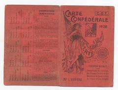 Carte Confédérale CGT 1938 Travailleurs Du Bâtiment, Des Travaux Publics, Des Matériaux De Construction France Et Coloni - Cartes