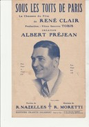 """PARTITION """" SOUS LES TOITS DE PARIS - CHANSON DU FILM - DE RENE CLAIR - CREATION ALBERT PREJEAN- 1930 - Spartiti"""