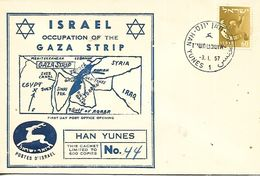 ISRAEL  HAN YUNES  Israel Occupation Of The Gaza Trip  3/01/57 - Lettres & Documents
