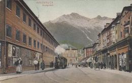 INNSBRUCK Mit Alter Dampflok Im Marktgraben, Karte Gel. 1910, Verlag Rob.Warger Innsbruck, Sehr Gute Erhaltung - Innsbruck