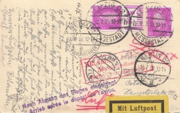 RRR! Luftpost Leipzig-Berlin-Wien Gel.1930, 2 X 10 Pfg Mit Randstück Auf Ak Völkersclachtdenkmal, Roter Luftpoststempel - Covers & Documents