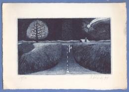 RADIERUNG Mit Weihnachtsmotiv, Autogramm Von Bernd Valetti 1994, Größe 23,5 X 16,5 Cm - Decretos & Leyes