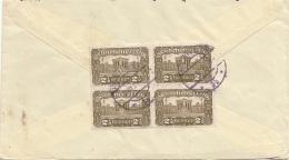 ÖSTERREICH 1921 - 4er Block 2,5 Kronen (Ank 2x291 + 367) Auf Brief Gel.v. Wien > Mähren - Briefe U. Dokumente