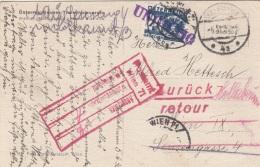 """RRR! IRRLÄUFER Mit NACHPORTO ÖSTERREICH - 24 Gro Nachporto + """"UNGÜLTIG"""" + """"RETOUR"""" + Roter Postamtstempel Wien 71, ... - Portomarken"""