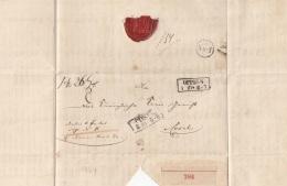 Vorphila Brief Mit Siegel 1854, Eingeschrieben Nr.784, Stempel V. Oppeln (Polen) + Cosel (Schlesien) - ...-1860 Vorphilatelie