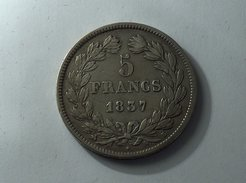 France 5 Francs 1837 B LOUIS PHILIPPE I IIe TYPE DOMARD Silver, Argent Franc - France