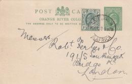 TRANSVAAL Orange River Colonie 1913 - Half Penny Ganzsache + 0,5 D Zusatzfrankierung Auf Pk Gel.v. Sued Africa N. London - Südafrika (...-1961)