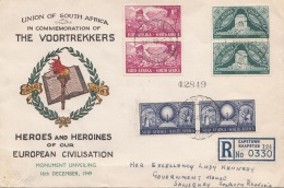 SOUTH AFRICA 1949 - 6 Fach Frankierung Auf R-Brief Gel.v. Cape Town - Salisbury Southern Rhodesia - Südafrika (...-1961)