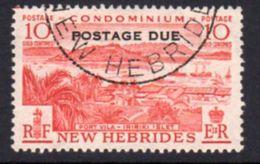 New Hebrides 1957 10c Scarlet Postage Due, Used, SG D17 - English Legend