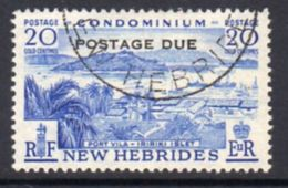 New Hebrides 1957 20c Blue Postage Due, Used, SG D18 - English Legend