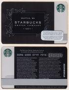 Starbucks - Switzerland - 2016 - CN 0096 4000 0719 - Coffee Company 1971 - Gift Cards