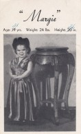 Margie Midget Little Person Entertainer,  Vintage Postcard-sized Advertising Promotional Card - Advertising