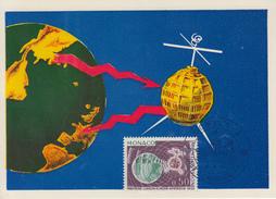 Carte  Maximum  1er  Jour    MONACO   1ére   Liaison  De   Télévision  Par   Satellite   TELSTAR   1963 - Maximum Cards