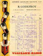 "Facture Illustrée : Lampes T.S.F. ""VISSEAUX-RADIO"", 1933 - Radio & TSF"