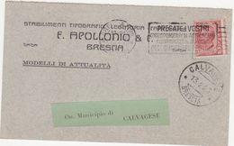 392 - STABILIMENTI GRAFICI LEGATORIA CARTOLERIA F APOLLONIO & C BRESCIA AL MUNICIPIO DI CALVAGESE 1923 STORIA POSTALE - Pubblicitari