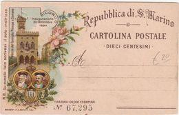 396 - REPUBBLICA DI S MARINO CARTOLINA POSTALE DIECI CENTESIMI RICORDO INAUGURAZIONE 1894 PALAZZO DEL CONSIGLIO - San Marino