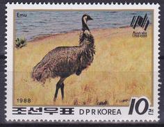 T.-P. Neuf** - Bicentenaire De L'implantation Des Premiers Colons En Australie Émeu - N° 1979 (Yvert) Corée Du Nord 1988 - Korea (Nord-)