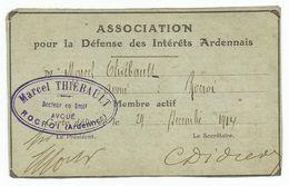 Rare  Association Pour La Defense Des Interets Ardennais 24 Decembre 1914   Cachet  Rocroi  Ardennes - Non Classés