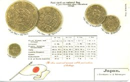 NOVELTY - EARLY EMBOSSED COIN POSTCARD OF JAPANESE CURRENCY Nov254 - Coins (pictures)