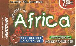 CARTE PREPAYEE-IRADIUM--7.5 €-AFRICA-31/12/2012-plastic-V°8 Villes  De France-T BE- - Autres Prépayées