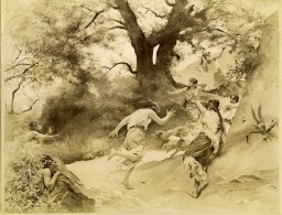 France Arts Peinture Satyres Par Auguste Hirsch Ancienne Photo 1900 - Old (before 1900)