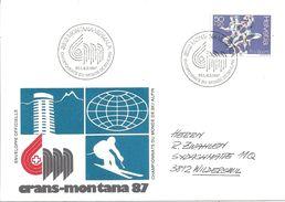 """Sonderbrief  """"Championnats Du Monde De Ski Alpin, Crans-Montana""""             1987 - Suisse"""