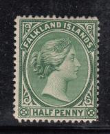 Falkland Islands 1892 MH  Scott #9 1/2p Victoria Watermark Crown CA - Falkland