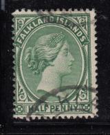 Falkland Islands 1892 Used  Scott #9 1/2p Victoria Watermark Crown CA With 1 Horizontal Line - Falkland