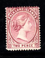 Falkland Islands 1891-1901 MH Scott #13 2p Victoria Part Of Watermark Crown CA In All 4 Corners - Falkland