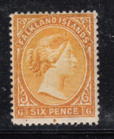 Falkland Islands 1891-1901 MH Scott #16a 6p Victoria, Orange - Falkland