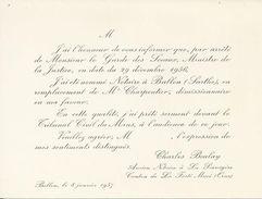 BALLON  CHARLES BOULAY ANCIEN NOTAIRE A LA SAUVAGERE CARTE DE NOMINATION EN REMPLACEMENT DE MR CHARPENTIER NOTAIRE 1956 - France
