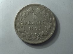 France 5 Francs 1837 W LOUIS PHILIPPE I IIe TYPE DOMARD Silver, Argent Franc - J. 5 Francs