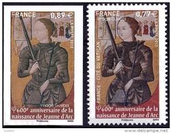 France Variété N° 4654 A ** Et 4654 ** Ou 4582 A ( Du Cat. Maury) Jeanne D'ARC Non émis 0,89  Non Dentelé - Varieties: 2010-.. Mint/hinged
