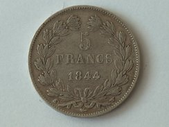 France 5 Francs 1844 W LOUIS PHILIPPE I IIIe TYPE DOMARD Silver, Argent Franc - J. 5 Francs