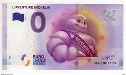 2016-1 BILLET TOURISTIQUE 0 EURO SOUVENIR N° UEGS001169 L'AVENTURE MICHELIN BT épuisé - EURO