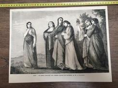 DOCUMENT GRAVURE 1869 LE DANTE ENTOURE  DES FEMMES NOBLES DE RAVENNE DE FEUERBACH - Verzamelingen