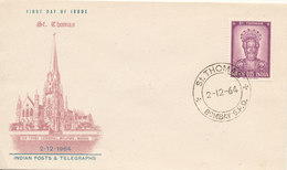 India FDC St. Thomas With Cachet 2-12-1964 - FDC