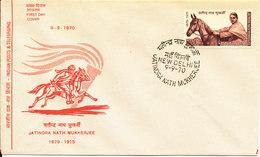 India FDC 9-9-1970 Jatindra Nath Mukherjee With Horse Cachet - FDC