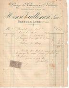 Facture  Ancienne/Louage De Chevaux & Voitures/Henri Vuillemin/VESOUL Et LURE/ Haute Saône/1896        FACT267 - Transports