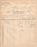 Facture  Ancienne/Châles Soieries/ Ad. Guillermet Et Cie/Rue De L'Hotel De Ville / LYON/ Rhône/1893        FACT268 - Textile & Vestimentaire